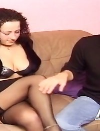 Hot brunette gets fingered and fucked really rough
