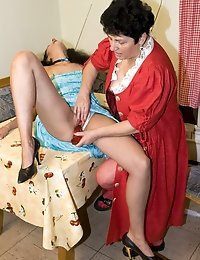Romana gets dildo fucked by older woman