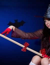 Amazing Long Haired Witch In A Hat And White Socks Showing Shaved Quim And Fantastic Butt.