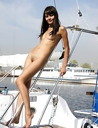 Magnificent Brunette Teases You With Her Nude Teen Body Welcoming You On Board Of A Yacht.