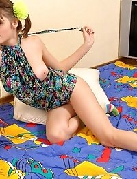 A Naughty Brunette Teen Having Fun In Her Bed Stripping Everything Off Slowly, But Surely, Getting C