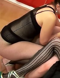 Brunette doll gets drilled by a kinky masked guy