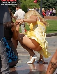 Strong wind causes thong upskirt moments