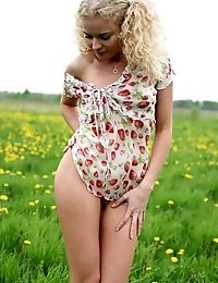 It Looks Like Tender Wind And Beautiful View On The Nature Make Blonde Teen Hot As She Starts Removi