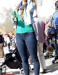Fat butted gals show ultra low jeans