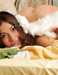 Amazing Dark Haired Shapely Teen Angel Posing In Only Tempting White Stocking On The Bed.