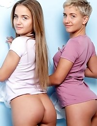 Two Beautiful Lesbian Teen Cuties Taking Off Clothes And Showing Their Tempting Bodies.
