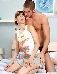 Smiling Teen Girl Sits On Big Prick Of Her Man And Starts Riding It All Over In Fit Of Passion.