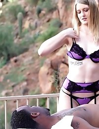 Blonde Hottie Summer Carter Greedily Gets Her Eager Mouth And Her Cum Hungry Bald Pussy Stuffed By A