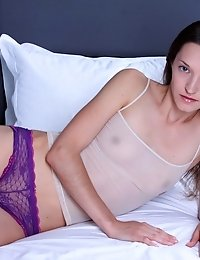 Hot Brown Haired Teen Beauty Gets Naked On Her Bed And Shows Off How Well She Can Bend That Petite B