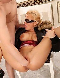 Blonde slut bends over to get her pussy fisted
