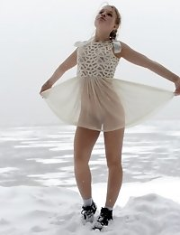Marvelous And Fearless Teen Cutie Posing Without Clothes Outdoor Right On The Winter Snow.