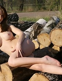 Fascinating Dark Haired Teen Hottie With Impressive Breasts Posing In The Nude On The Logs.