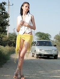 Brunette Girl Getting Nude And Posing Her Sweet Body On A Country Road And In A Desert