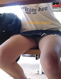 Hottie accidentally, upskirts under the table