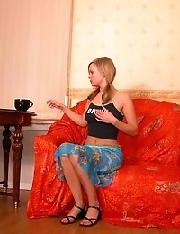 Slender Blonde Performs Horny Relaxation