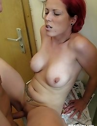 Busty redhead wife enjoys a good hard fuck