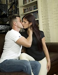 Lovely girl Mira ridding her boyfriend on the sofa