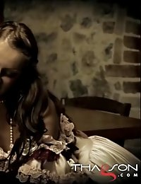 Amazing beauties in costumes giving a hot blowjob