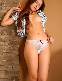 Slim Brunette With Fresh Delicious Curves Taking Off Her Transparent Panties