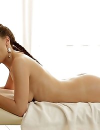 Skinny Brunette Takes Her Massage To Somewhere Else With Sucking On Her Mans Cock And Turning Things