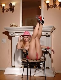 Hot Blonde With A Great Body Sexually Strips Down And Poses In High Heels And A Pink Hat.