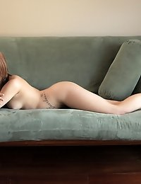 Redhead babe Abby Paradise uses soft sweet touches to warm up her needy bald pussy for a double handed finger fucking