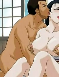 Two cocks in turns fuck sexy mouth of sultry anime gal