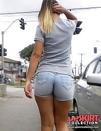 Jeans shorts back view spied on cam