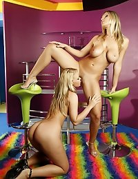 Two lesbians blonde with big tits fucking hard