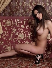 Long Haired Busty Babe Like To Pose In Front Of The Fireplace For Camera Because She Knows That Her