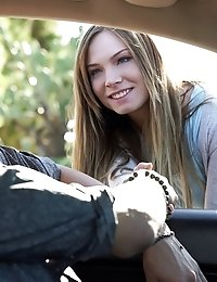 Petite Hottie Tiff Bannister Tries To Pick Up Her Driver With A Juicy Blowjob And A Stiffie Ride In