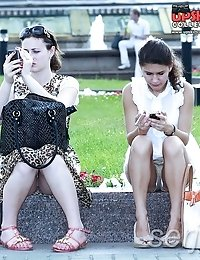 Girls sitting for upskirt spy shots