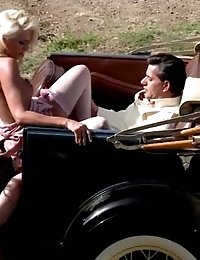 Lovely retro ladies giving a hot blowjob outdoors