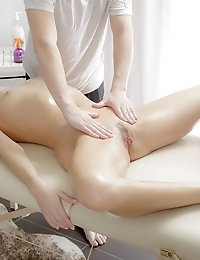 This Gorgeous Pony Tailed Brunette Teen Gets The Massage Of Her Life When The Masseur Pounds Her On
