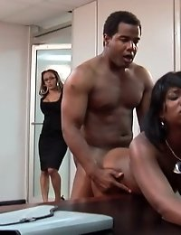 The black chick gets fucked hard doggystyle