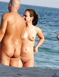 Back and front view of real nudists